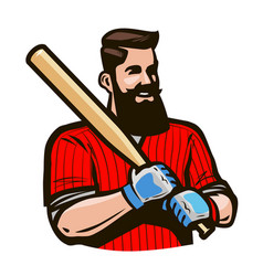 baseball player holding baseball bat sport vector image