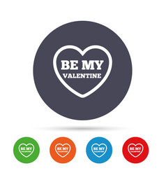 be my valentine sign icon heart love symbol vector image