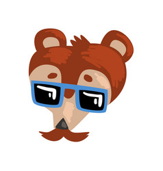 bear wearing sunglasses animal portrait cartoon vector image