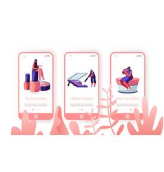 Beauty salon mobile app page onboard screen set vector