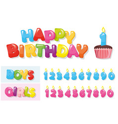 birthday stickers set colorful letters cupcake vector image vector image