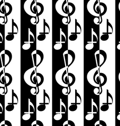 Black and white alternating G clef and music notes vector