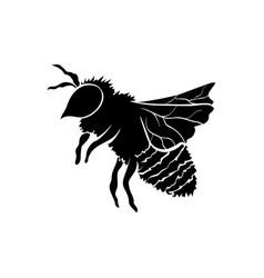 Black silhouette honey bee vector