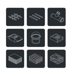 building and construction materials icons set vector image