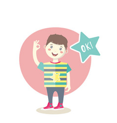 caucasian little smiling boy showing an ok sign vector image