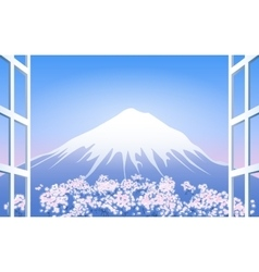 Cherry blossoms around mount fuji vector