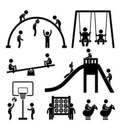 children playground outdoor park a set of vector image