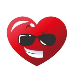 cool sunglasses heart cartoon icon vector image