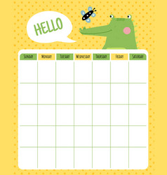 Crocodile month planner vector