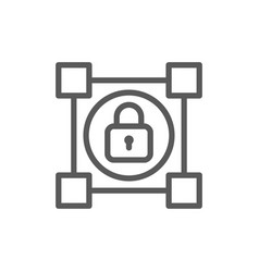crypto blockchain with lock cryptocurrency line vector image