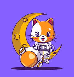 Cute astronaut playing sitting on a moon icon vector