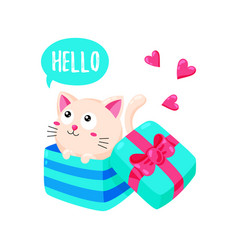 cute cartoon card with kitten cat looks out of a vector image
