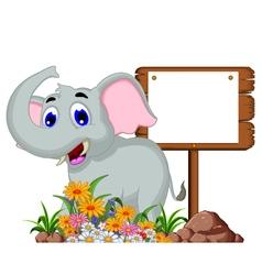 Cute elephant cartoon with blank sign vector image