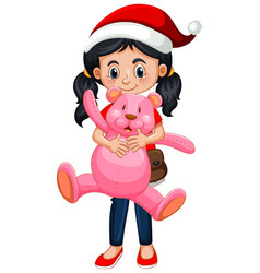 Cute girl wearing christmas hat and holding teddy vector