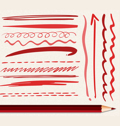 Different brushstrokes of red color vector