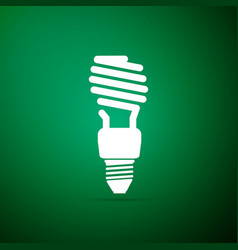 energy saving light bulb icon on green background vector image