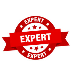 expert ribbon expert round red sign expert vector image