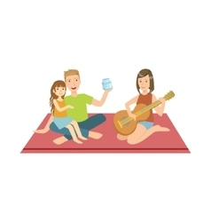 Family On Picnic With Mom Playing Guitar vector image