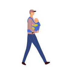 Father carries baby in an ergo vector