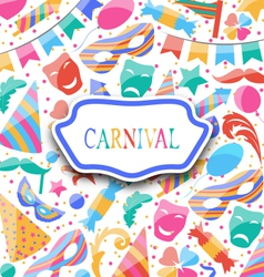 Festive postcard with carnival colorful icons vector