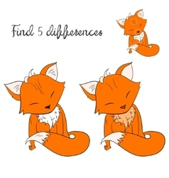 Find differences kids layout for game fox vector image