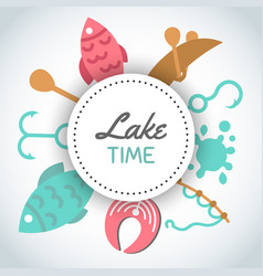 Fishing banner lake time text background vector