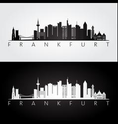Frankfurt skyline and landmarks silhouette vector