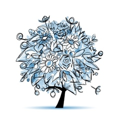 Frozen winter tree floral for your design vector
