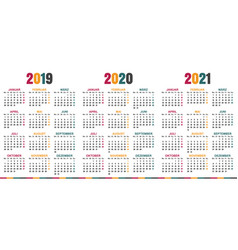 German calendar 2019 - 2021 vector