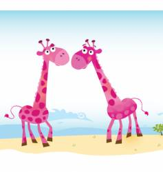 giraffes in love vector image
