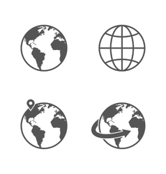 Globe earth icons set isolated on white background vector