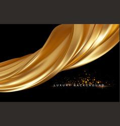 gold metallic silk flowing wave luxury trendy vector image