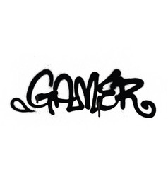 Graffiti tag gamer sprayed with leak in black vector
