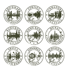Grunge rubber stamps with Abu Dhabi Sydney vector