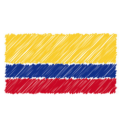 hand drawn national flag of colombia isolated on a vector image