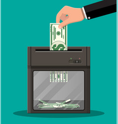 hand putting dollar banknote in shredder machine vector image