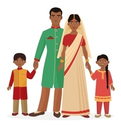 Indian family man and woman with boy vector