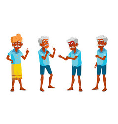indian old man poses set elderly people vector image