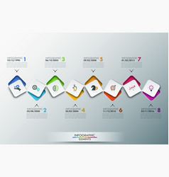 infographic design template with timeline and 8 vector image
