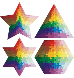 Jigsaw puzzle set geometric shapes colors vector image