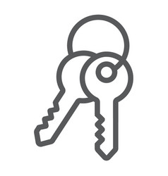 keys line icon lock and home access sign vector image