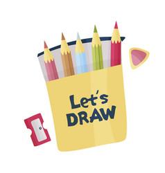 Lets draw pencils sharpener and eraser vector