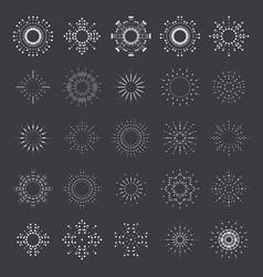 lineart sun radiant sunburst design icons set vector image