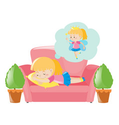 little girl dreaming about fairy vector image