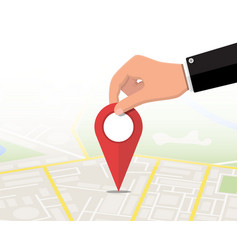 Location pin in hand and map vector