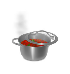 metal pot of soup and cover with water vapor vector image