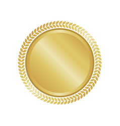 modern gold circle metal badge label and design vector image