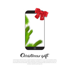 modern smart phone with red ribbon bow on vector image