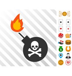 Mortal bomb icon with bonus vector