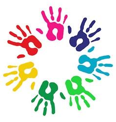 Multicolor diversity hands circle vector